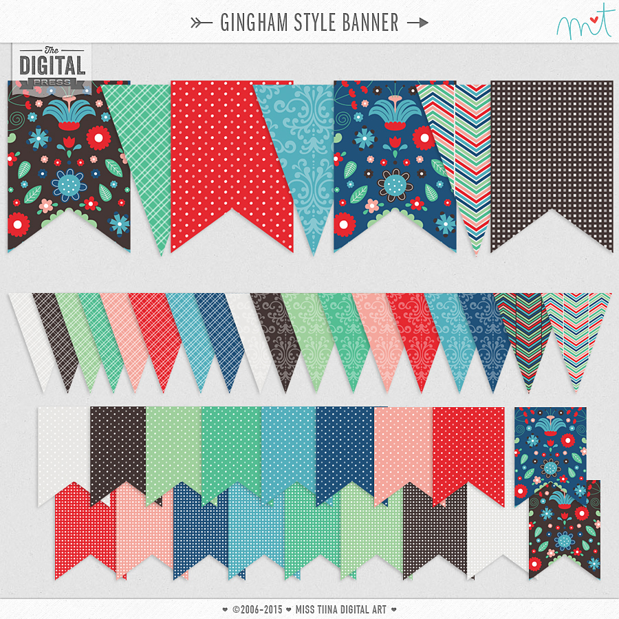 Gingham Style Printable Banners