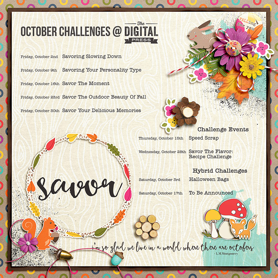 Savor - October Challenge Schedule