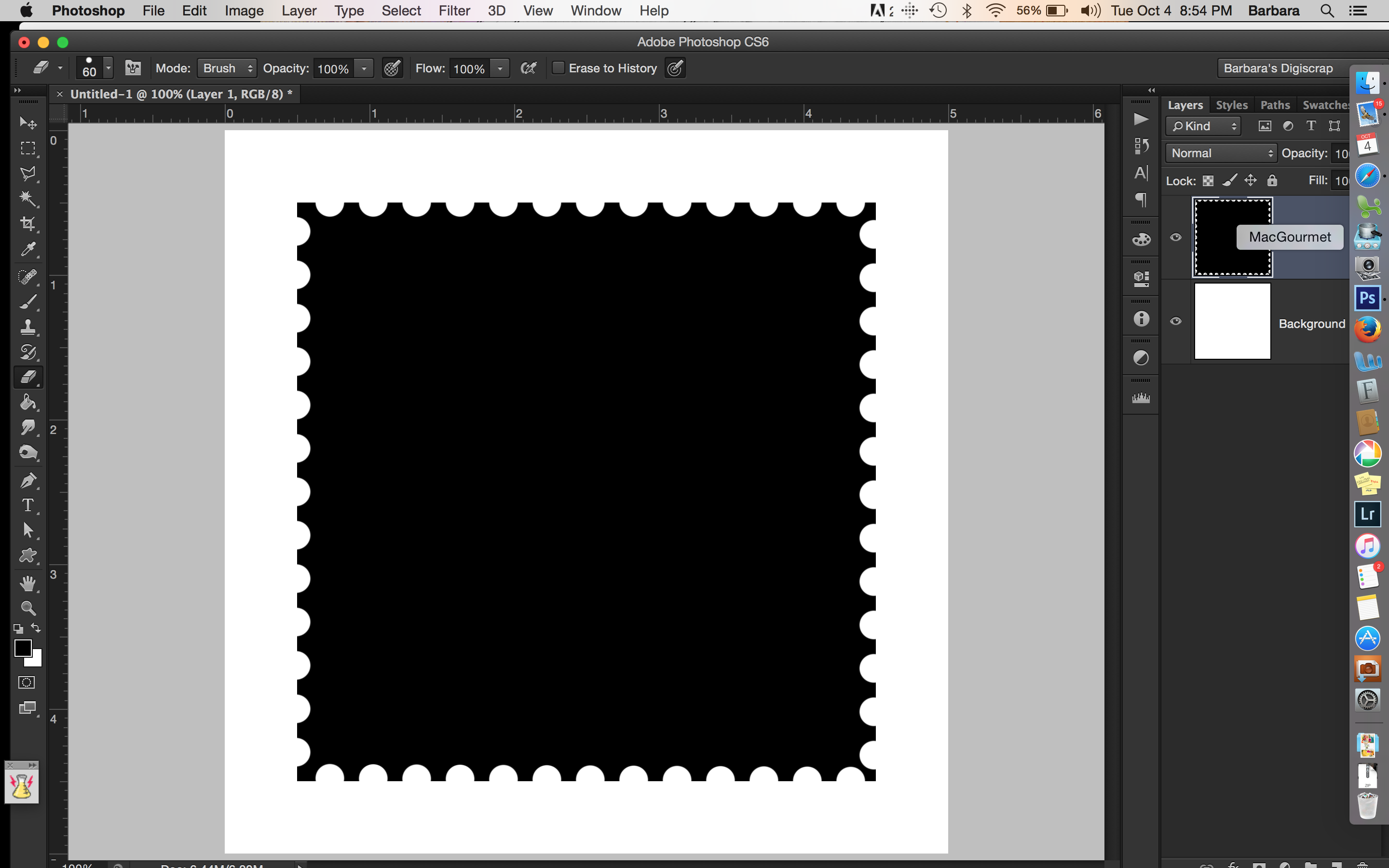 Tutorial tuesday create your own postage stamp frame the digital at this point you can mask a photo or a paper to this shape you can also cut out the center and make it a frame baditri Images